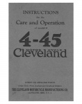 Instructions for Care and Operation of model H 4-45 Cleveland Motorcycle - 1927