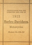 Instructions for the Operation and Care of 1913 Harley-Davidson Motorcycles Models 9A, 9B & 9E