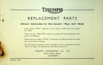 Triumph 1957 Tiger Cub Replacement Parts Advance Information