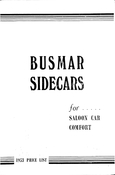 Busmar 1953 Sidecar Brochure and Price List