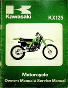 1980 Kawasaki KX125 Motorcycle Owners Manual and Service Manual