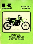 1980 Kawasaki KX420-A2 Uni-Trak Motorcycle Owners Manual and Service Manual