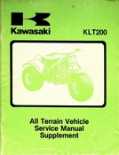 1981-1983 Kawasaki KLT200 All Terrain Vehicle Service Manual Supplement
