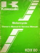 1982 Kawasaki KDX80 Motorcycle Owners Manual and Service Manual