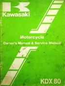1983 Kawasaki KDX80 Motorcycle Owners Manual and Service Manual