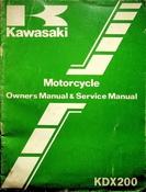 1983 Kawasaki KDX200 Motorcycle Owners Manual and Service Manual