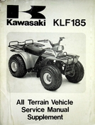 1985-1986 Kawasaki KLF185 All Terrain Vehicle Service Manual Supplement