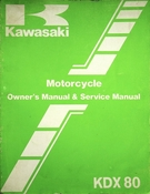 1986 Kawasaki KDX80 Motorcycle Owners Manual and Service Manual