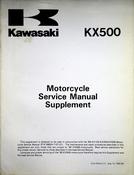 1990 Kawasaki KX500 Motorcycle Service Manual Supplement