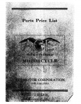 Ace Four Cylinder Motorcycle Parts List - 1920-1922