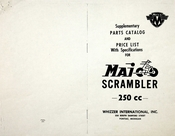 Supplementary Parts Catalog and Price List with Specifications for 1956 Maico Scrambler 250cc
