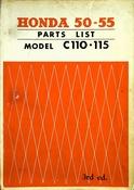 1960-1967 Honda 50 & 55 Parts List Model C110 and C115