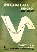 1962-1968 Honda 250 300 Model CL72 CL77 Parts List